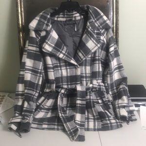 Joujou wool blend plaid belted coat Sz M
